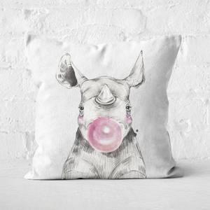 Bubblegum Rhino Square Cushion