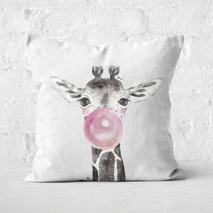 Bubblegum Giraffe Square Cushion