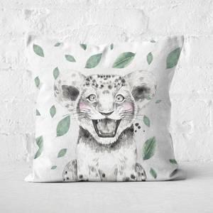 Cub And Leaves Square Cushion