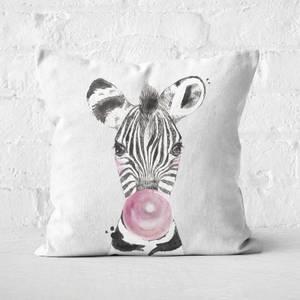 Bubblegum Zebra Square Cushion