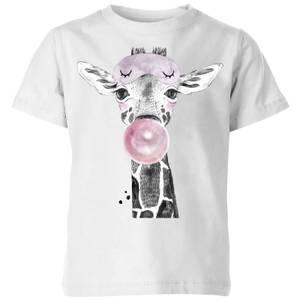 Bubblegum Giraffe Kids' T-Shirt - White