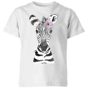 Floral Zebra Kids' T-Shirt - White