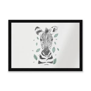 Zebra And Leaves Entrance Mat