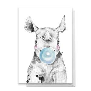 Rhino Blue Bugglegum Greetings Card
