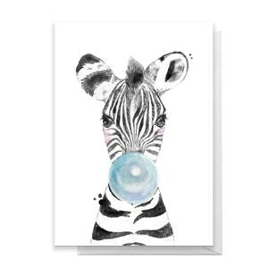 Zebra Blue Bubblegum Greetings Card