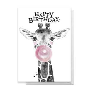 Happy Birthday Giraffe Greetings Card