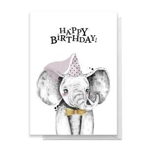Happy Birthday Elephant Hat Greetings Card