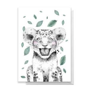 Lion Cub Leaves Greetings Card
