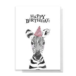 Happy Birthday Zebra Hat Greetings Card