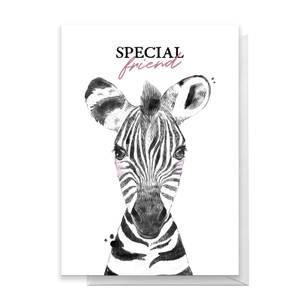 Special Friend Zebra Greetings Card