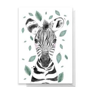 Zebra Leaves Greetings Card