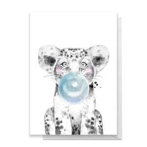 Lion Cub Blue Bubblegum Greetings Card