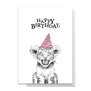 Happy Birthday Lion Cub Hat Greetings Card