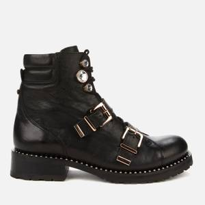 Sophia Webster Women's Ziggy Leather Biker Boots - Black