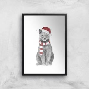 Xmas Cat Print Giclee Art Print