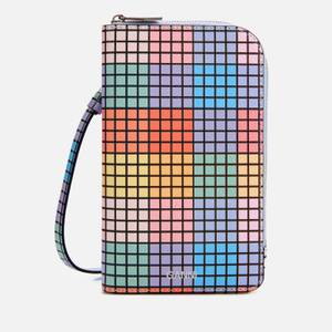Ganni Women's Check Print Phone Bag - Multicolour