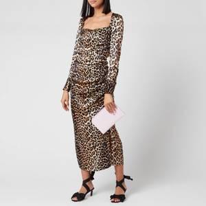Ganni Women's Leopard Silk Blend Ruched Dress - Leopard