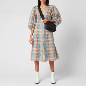 Ganni Women's Seersucker Check Mini Dress - Multicolour
