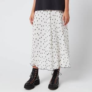 Ganni Women's Pleated Polk Dot Georgette Skirt - Egret