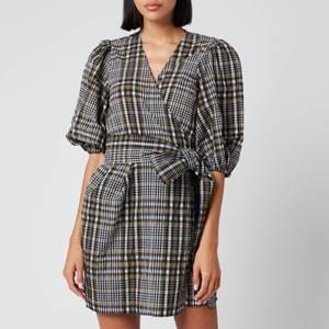 Ganni Women's Seersucker Check Mini Wrap Dress - Kalamata