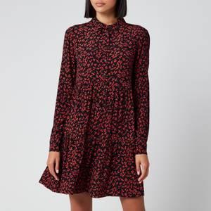 Ganni Women's Leaf Print Crepe Mini Shirt Dress - Black/Red