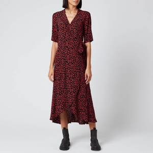 Ganni Women's Leaf Print Crepe Wrap Dress - Black/Red