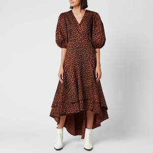 Ganni Women's Leopard Print Cotton Poplin Wrap Dress - Toffee