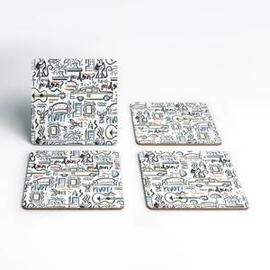 Friends Pattern Square Coaster Set