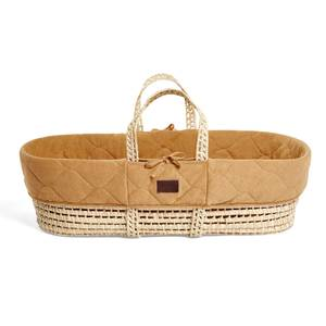 The Little Green Sheep Natural Quilted Moses Basket and Mattress - Honey