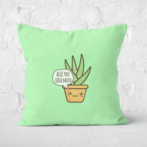 Aloe You Vera Much Square Cushion