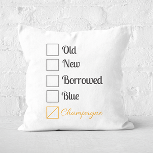 Champagne Tick Box Square Cushion