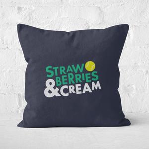 Strawberries And Cream Square Cushion