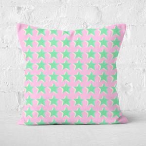 Pressed Flowers Riso Print Stars Square Cushion