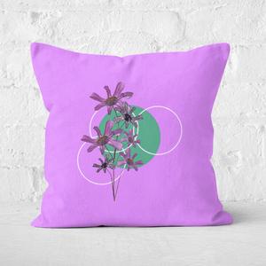 Pressed Flowers Feminine Sketch And Circle Print Square Cushion