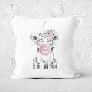 Pressed Flowers Bubblegum Cub Square Cushion