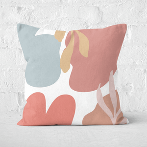 Pressed Flowers Abstract Clouds And Leaves Square Cushion