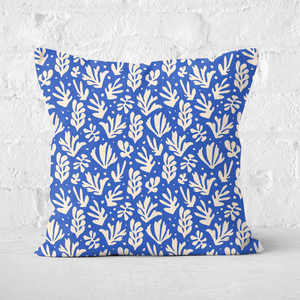 Pressed Flowers Cool Tone Leaves Square Cushion
