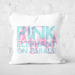 Pressed Flowers Pink Elephant Square Cushion