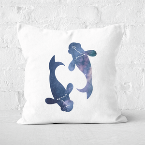 Pressed Flowers Pisces Square Cushion