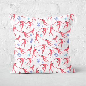 Pressed Flowers Dancing Silhouettes Square Cushion