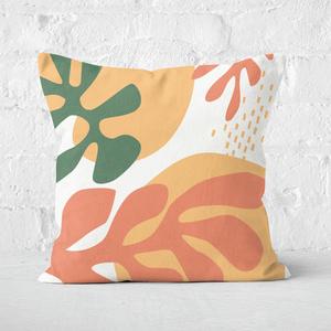 Pressed Flowers Mid Warm Leaf Pattern Square Cushion