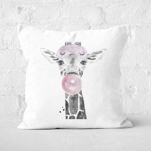 Pressed Flowers Bubblegum Giraffe Square Cushion