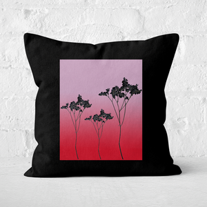 Pressed Flowers Ombre Sunset Flowers Square Cushion