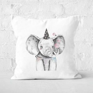 Pressed Flowers Party Elephant Square Cushion