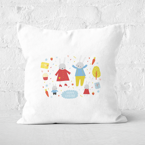 Pressed Flowers Easter Together Square Cushion