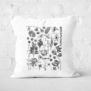 Pressed Flowers Monochrome All Over Flower Print Square Cushion