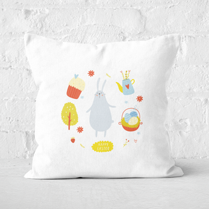 Pressed Flowers Bunny Easter Picnic Square Cushion