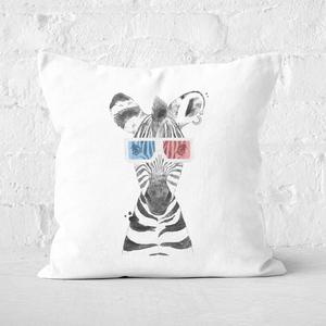 Pressed Flowers 3D Zebra Square Cushion