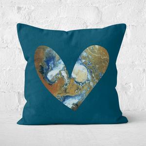 Earth Friendly Heart Earth Square Cushion