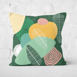 Earth Friendly Abstract Leaves Square Cushion